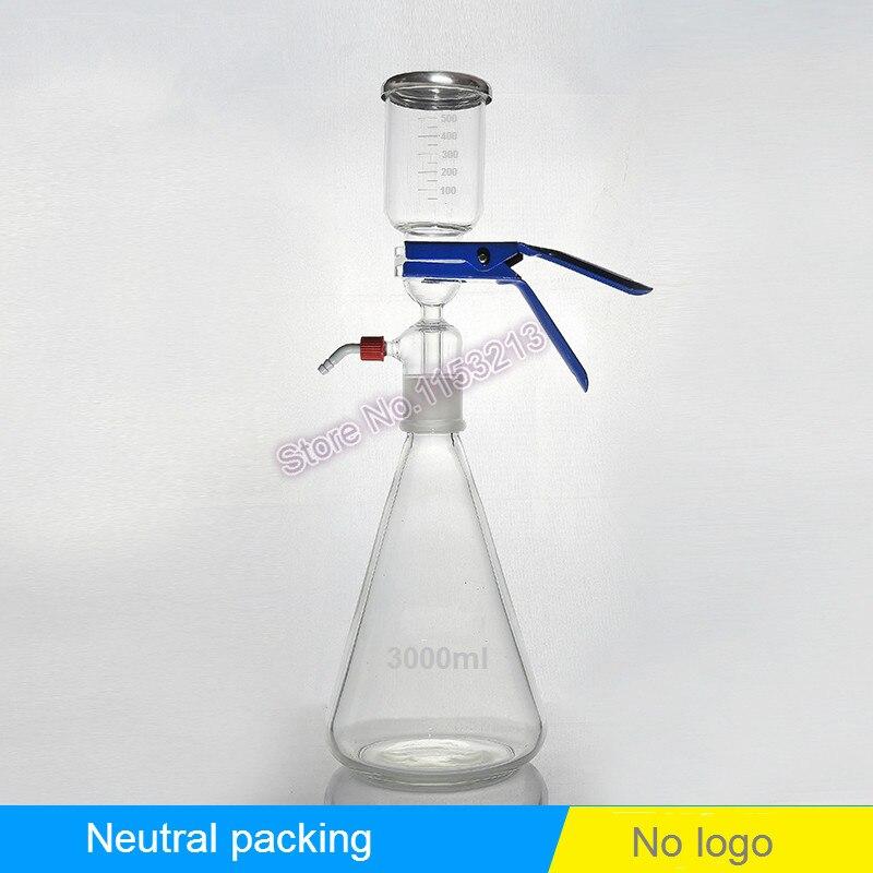 3000 ml Solution filtre bouteille Vide dispositif de filtration Sable core Solvant filtre d'aspiration unir avec filtre tasse et recevoir bouteille
