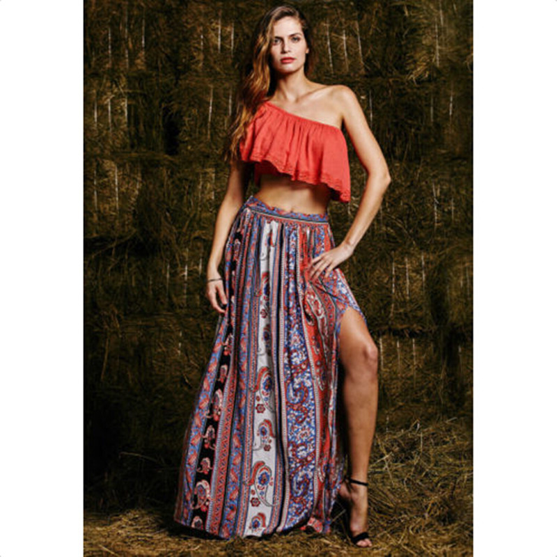 57532262a Womens Summer Style Bohemian Boho Floral Print Sexy Open Side Split Beach  Party Work Clubwear Fitted Long Skirt-in Skirts from Women's Clothing on ...