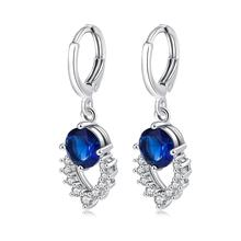 Wholesale Round Royal Blue & Green CZ Fashion Women Wedding Jewelry Dangle Earrings Luxury Elegant Engagement Party Lovers Gift