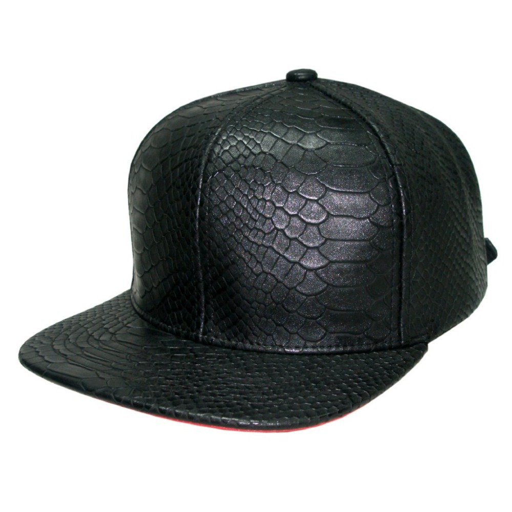 Whole sale Unisex High Quality Blank Snakeskin leather Snapback Cap  Exclusive Flat Peak Fashion caps Baseball cap-in Baseball Caps from Apparel  Accessories ... 221f8b8c0b3