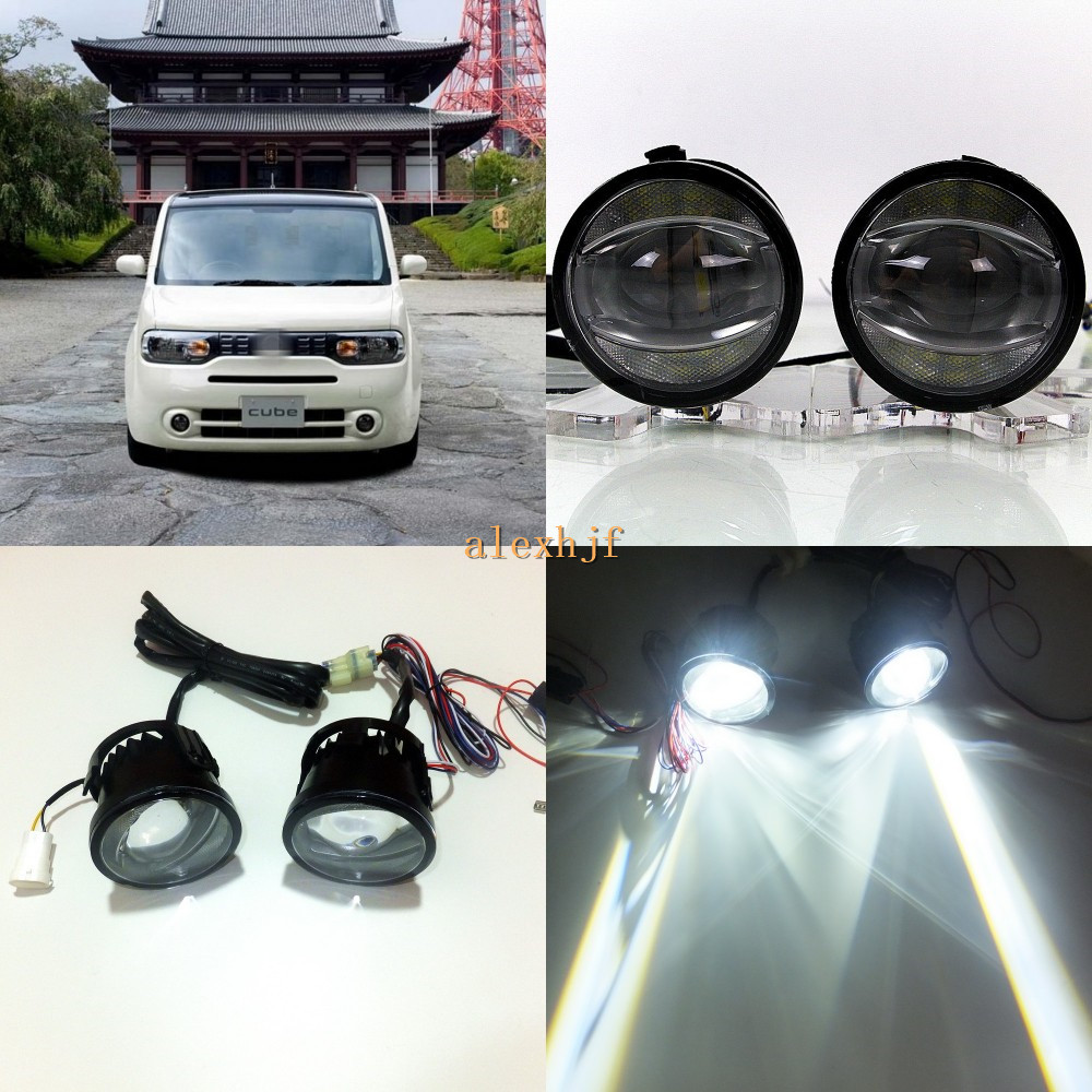 July King 1600LM 24W 6000K LED Light Guide Q5 Lens Fog Lamp+1000LM 14W Day Running Lights DRL Case for Nissan Cube Z11 2008.11+ for opel astra h gtc 2005 15 h11 wiring harness sockets wire connector switch 2 fog lights drl front bumper 5d lens led lamp