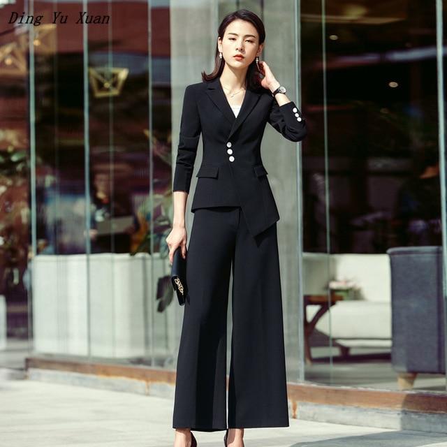 Office Style Korean Work Pant Suits For Women Black White Formal Wear Blazer Pant Set Business Trouser Suits Plus Size 4XL