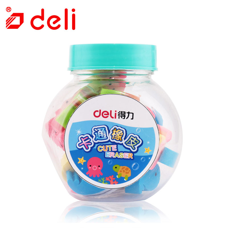 Deli 1pot Pencil Eraser Kawaii Colorful Kids Soft Erasers Cute Cartoon Erasers Mixed Candy Jar Children Stationery School Supply