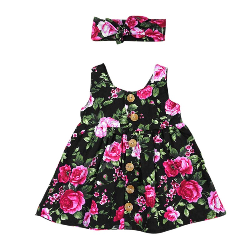 Fashion  Baby Floral Print Cloth Sets Sweet Dress + Headwear Set Girls Clothing Sets Suit Baby Girl Summer 2Pcs Outfits childrendlor baby brocade floral print
