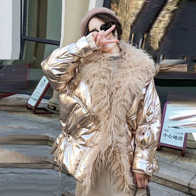 De Hiver Veste Faux Laine Gaz Manteau coréen pink Coton Courte Brillant Col Nouvelle 2018 Femmes Automne gold gun Color Grand Lâche Silver blue Sauvage Argent Fourrure Mode 88 Oyx5zRyqcU