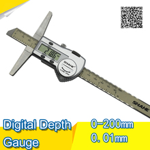 Free shipping SHAHE 0-200mm Stainless Steel Digital Depth Vernier Caliper depth gauge depth caliper digital caliper depth