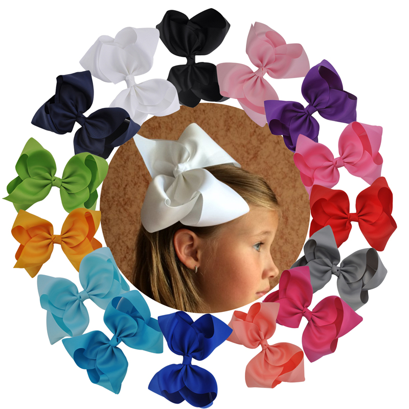 Boutique 8 Large Solid Grosgrain Ribbon Hair Bow Alligator Hair Clips Barrette Bows For Women Girls Hair Accessories 10 inches huge big bow clip boutique hair bows for teens girls kids children women alligator hair clips grosgrain ribbon bows