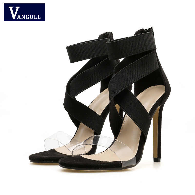 ... VANGULL Women Sandals Stretch Fabric Sandals 2019 New Ankle-Wrap High  Heels Female Summer Shoes ... b0b7d518294b