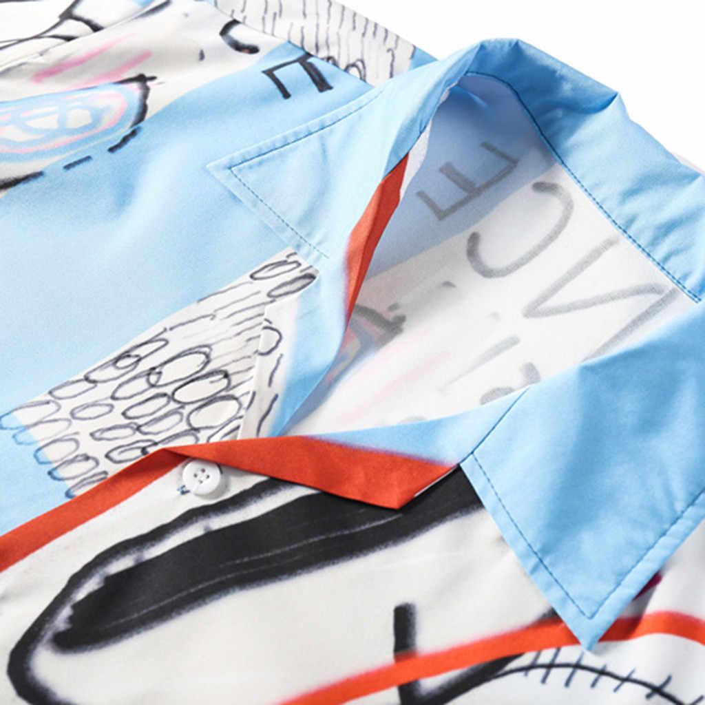 Homens moda camisas casual manga curta praia topos solto streetwear verão floral rapper harajuku respirável masculina
