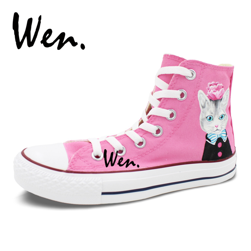 Wen Original Design Cat with Blue Bow Tie Pink Flower Hand Painted Sneakers Shoes Girls Womens High Top Canvas Flat Shoes