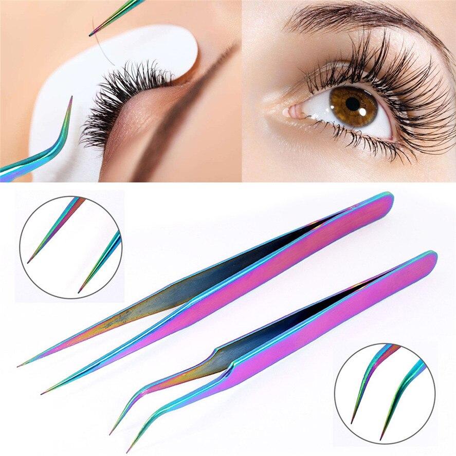 2017 New Brand 1PC Stainless Steel Eyebrow Tweezers Eyelash Curler Clip Plucking Beauty Tools Eyebrow Tweezer Pretty