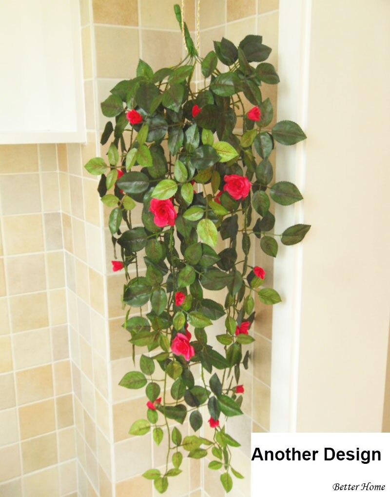 artificial verde plantas con flores con hierro cestas colgantes macetas puerta interior decoracin flores coronas decoracin en artificial y flores secas de - Plantas Colgantes De Interior