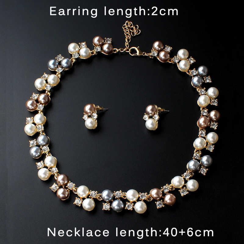 jiayijiaduo African Women's Wedding Jewelry Imitation Pearl Jewelry Set Wedding Jewelry Accessories Necklace Earrings Set