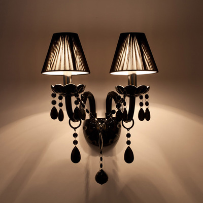 Factory direct sell Black Crystal Wall Lamp Candle Led E14 Bulbs Black with/without Fabric Lampshade 1/2 head e14 black crystal wall lamp light black silk fabric lampshade crystal wall lighting creatie crystal wall lamp study lamp