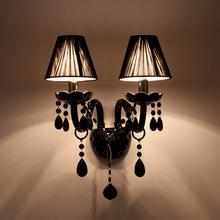 Factory direct sell Black Crystal Wall Lamp Candle Led E14 Bulbs Black with/without Fabric Lampshade 1/2 head