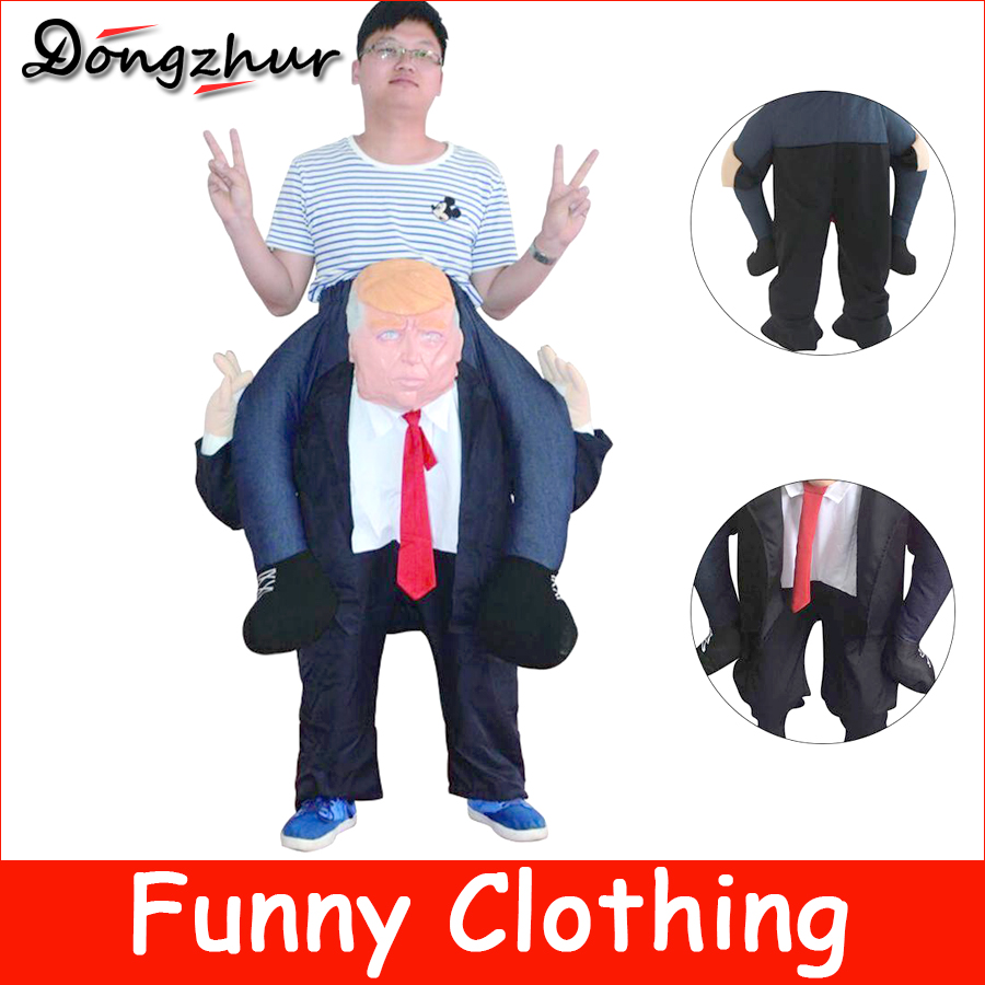 Dongzhur New Funny Donald Trump Rider Costume Inflatable Costumes For Adults Women Men Halloween Carnaval Party Cosplay AWE3686 adult men s tangled flynn rider cosplay boots shoes halloween cosplay prop custom made