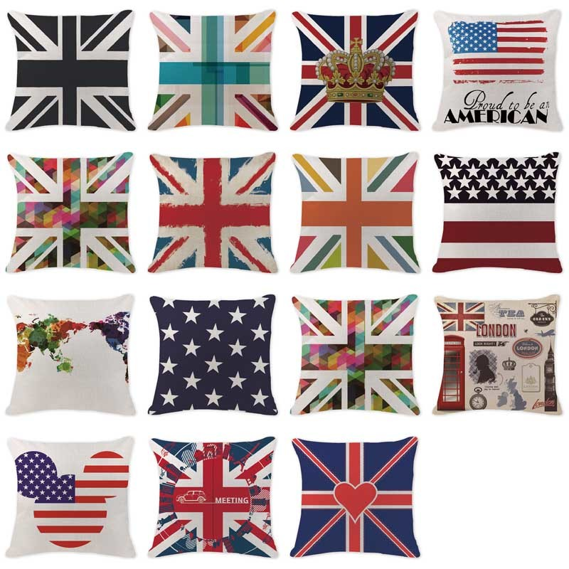 Custom Cushion Covers Art National Flag United Kingdom Pillowcases Car Seat  Linen Home Sofa Decorative Geometry Pillows