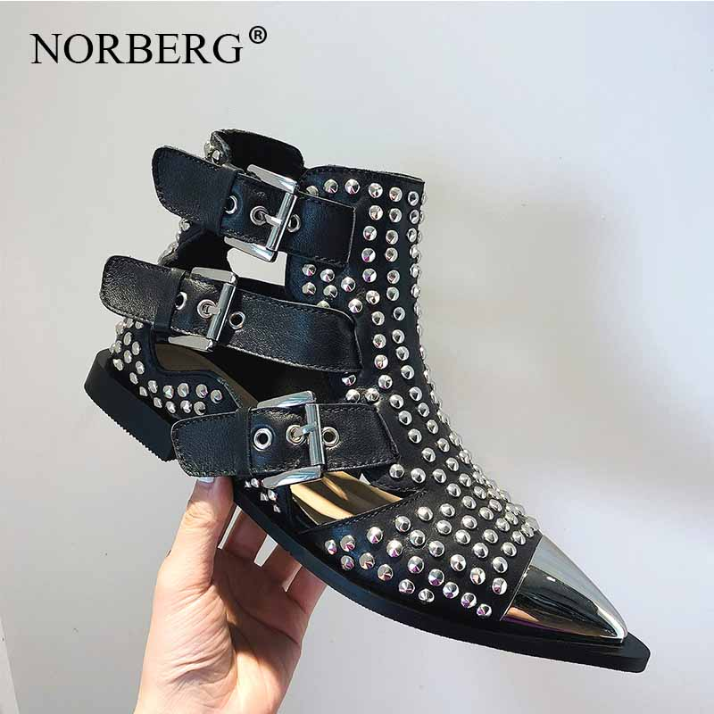 Fashion Buckle Genuine Leather Punk Rivets Motorcycle Ankle Summer Boots Woman Boots Flat Sandals Casual Shoes Women Brand in Ankle Boots from Shoes