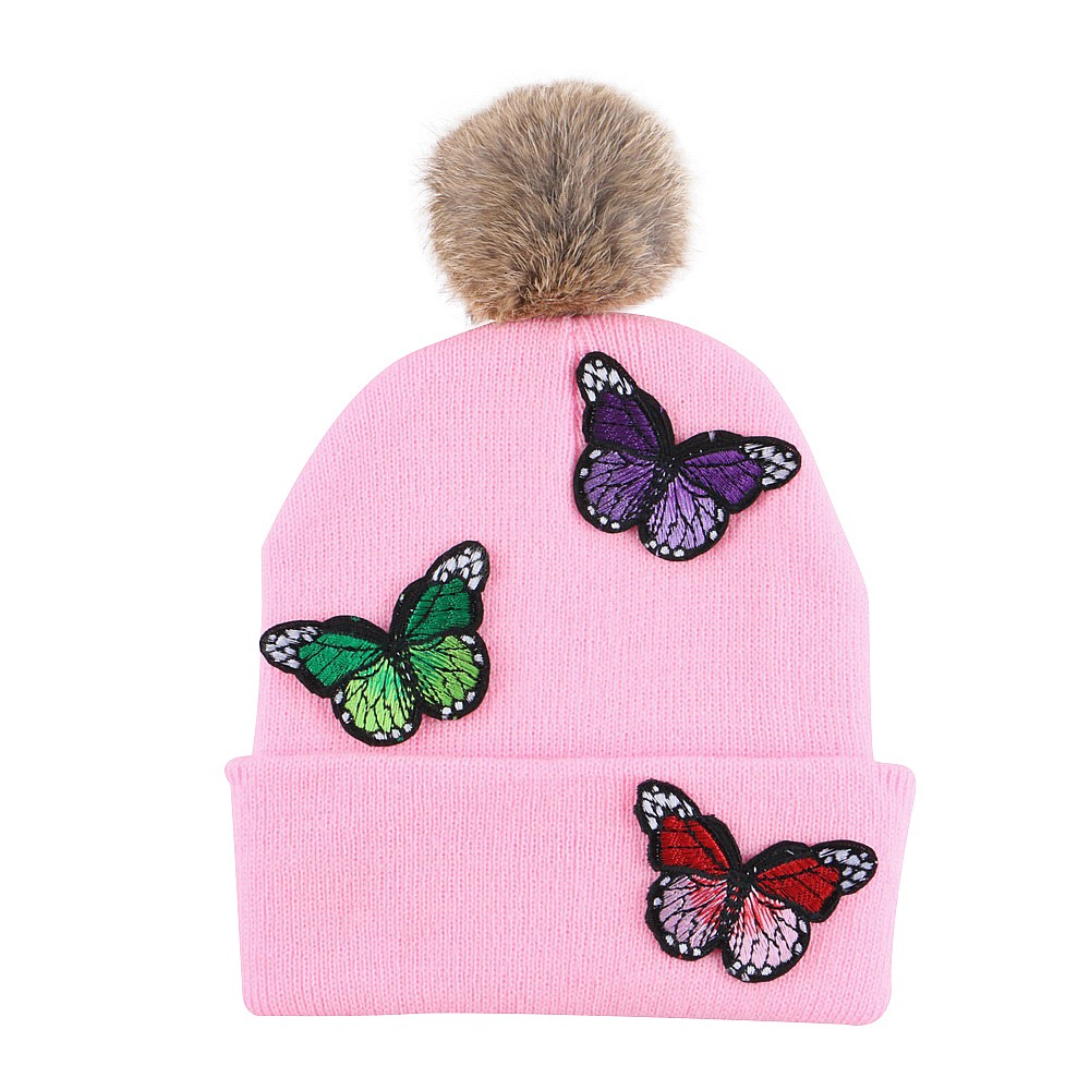 girl boy children lovely winter hat knit hats beanies with embroidery butterfly beautiful style thermal gorros kids skullies