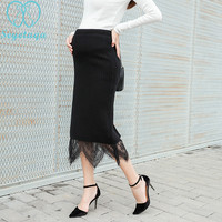 2066# Elastic Wasit Belly   Maternity   Skirts 2018 Autumn Winter Fashion Knitted Patchwork Lace Skirts for Pregnant Women Pregnancy