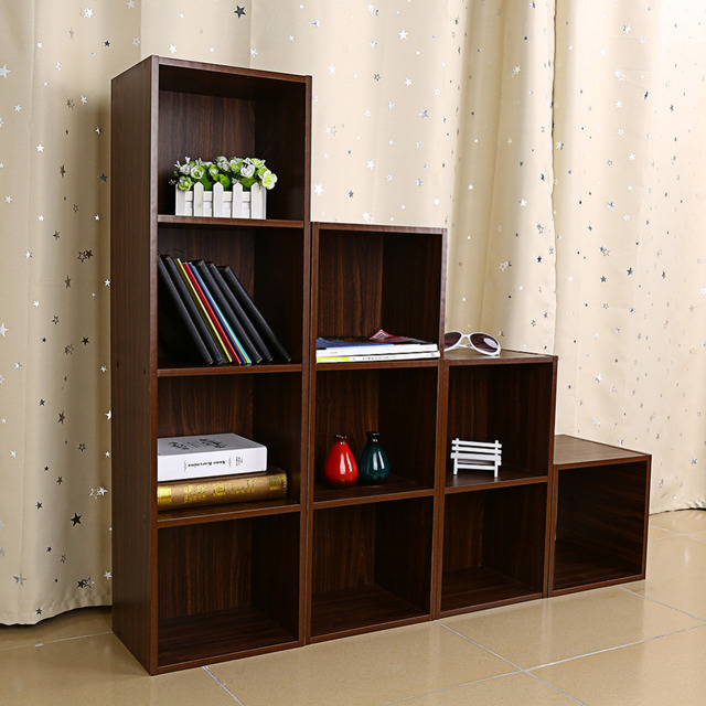 1/2/3/4 Tiers Wooden Bookcase Shelf Standing Book Shelves Storage Multi