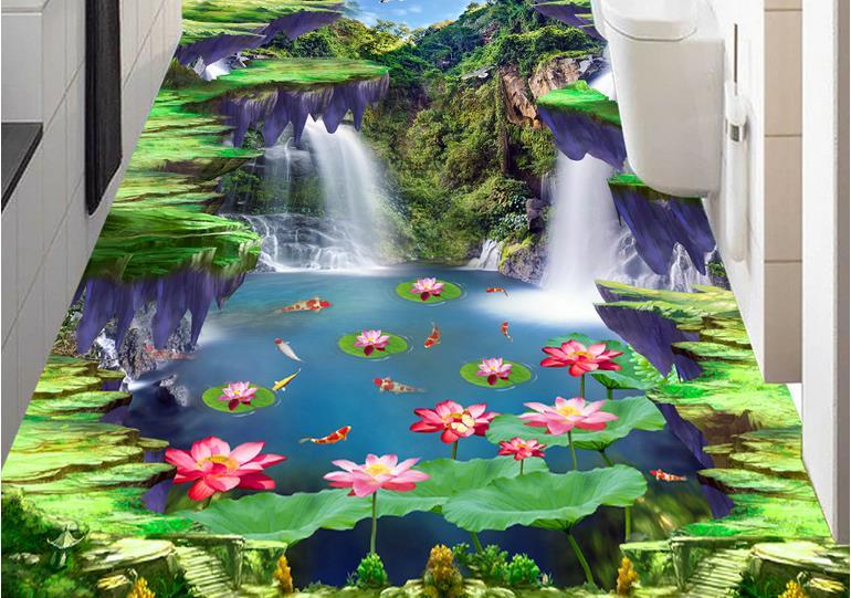 3d Wallpaper For Living Room Wall Custom 3d Flooring Waterfall Lotus Carp Mural Wallpaper 3d