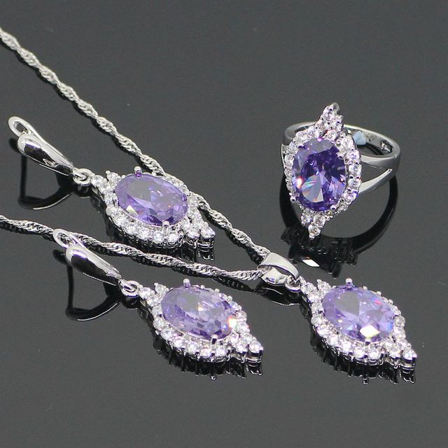 925 Sterling Silver Purple Amethyst White Created Topaz Jewelry Sets For Women Sliver Earrings/Pendant/Necklace/Rings Free Box