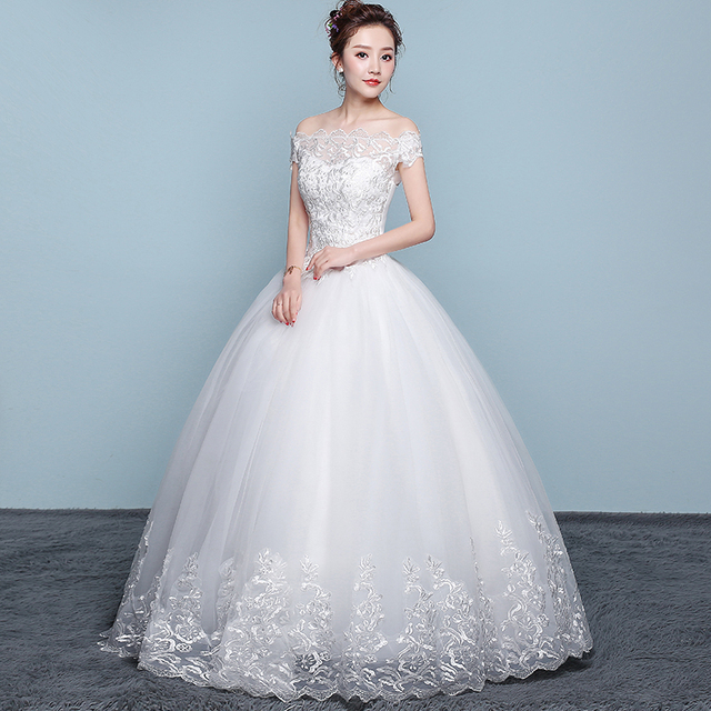 New Wedding Dress Lace Boat Neck Ball Gown Off The Shoulder Princess Plus Size Wedding Dresses 1