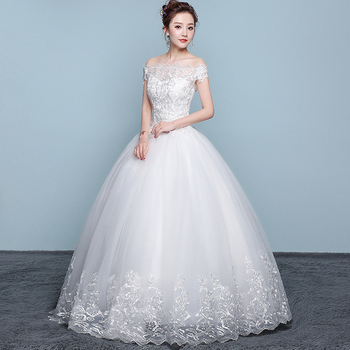 New Wedding Dress Lace Boat Neck Ball Gown Off The Shoulder Princess Plus Size Dresses - discount item  28% OFF Wedding Dresses