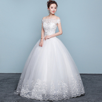 New Wedding Dress Lace Boat Neck Ball Gown Off The Shoulder Princess Plus Size Wedding Dresses