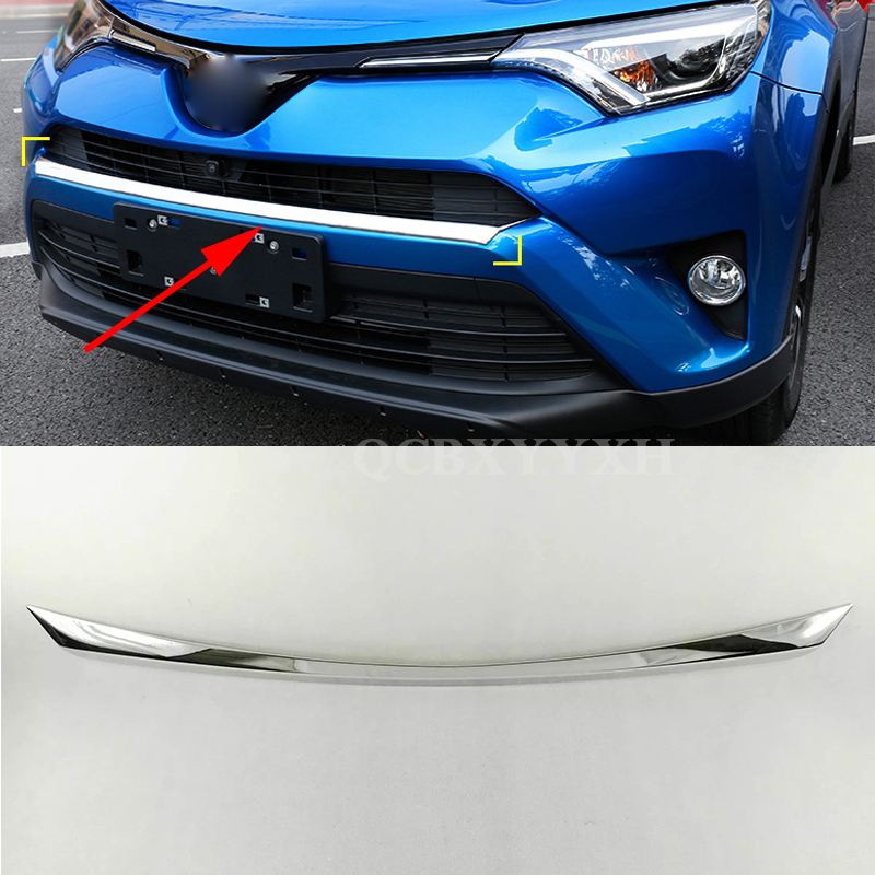 Car Styling ABS Aluminum Car Front Bar Trim Chromium Plating Sequins For Toyota RAV4 2016 Car sticker