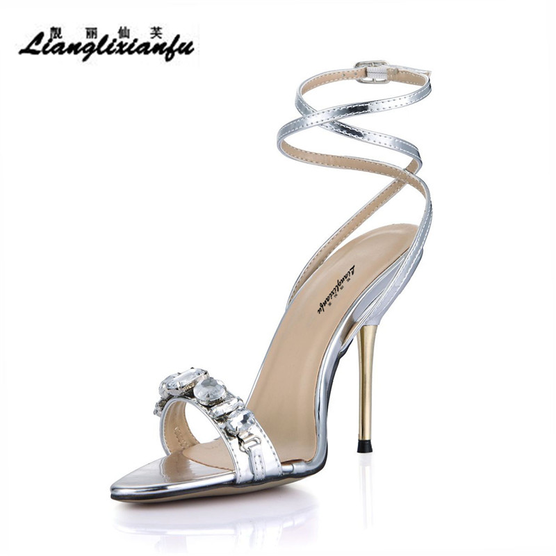 Verano Sexy Diamantes Cm Oro Oro Llxf Zapatos Sandalias Plata 11 Stiletto plata Bombas Delgados Correa Tacones Mujer Cruz Partido aqq5Ht7