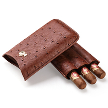 Cigar case cow leather ostrich skin cigar moisturizing portable holster can store 3 sticks gift boxes CF-0401