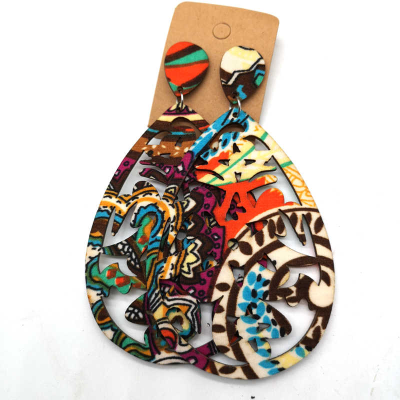 fabric with Wood Wooden Earrings can mixed 5 colors
