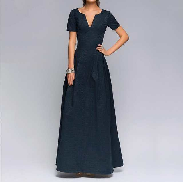 8b17e5fd4012 placeholder Buenas señoras de calidad festivo Vestido de manga corta  v-cuello Sexy vestido largo para