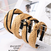 Xugar Hair Accessories Straw Hairband Summer Weaving Knotted Headband for Women Cross Handmade Hoop Bohemian