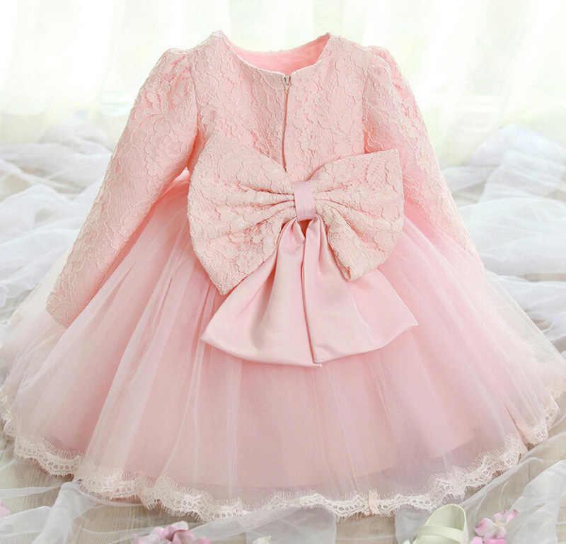 828f9b4eb976 Elegant Girls Dress 2018 Summer Fashion Pink Lace Big Bow Party Tulle  Flower Chiffon Princess Wedding Dresses Baby Girl dress