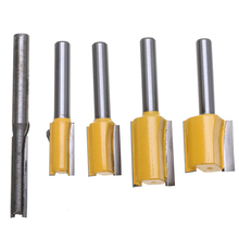 5pcs/Set Hard Alloy Straight Trimmer Router Bits 1/4 Shank Trimming Milling Cutter for Wood Woodworking Machine Tools carpenter carving slice tools wood cutter machine 15pcs set 8mm diam moulding cutter milling cutter hard alloy handle