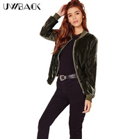 Uwback 2016 New Brand Winter Bomber Jackets Women Fashion Velvet Jacket Femme Short Army Green Coat