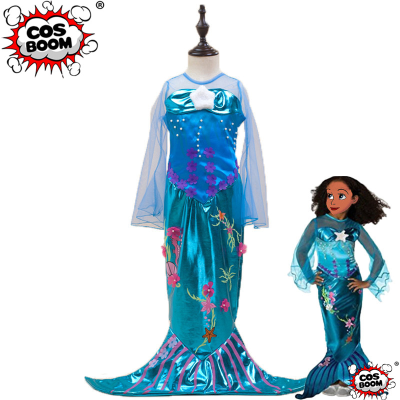 COSBOOM The Little Mermaid Princess Dress Kids Ariel Cosplay Costume Girls Party Fancy Dress Halloween Costume