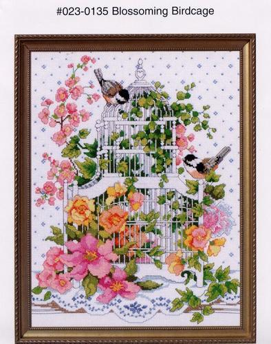 Top Quality Beautiful Lovely Counted Cross Stitch Kit Blossoming Birdcage And Flower Flowers Two Birds Bird