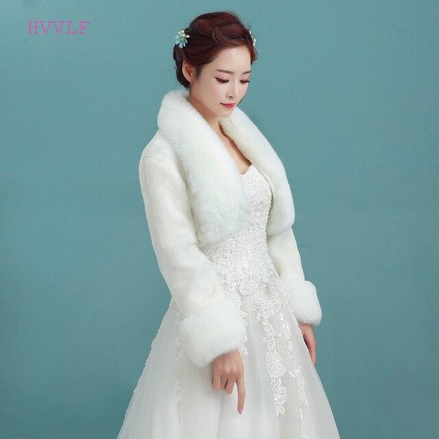 אביזרי חתונה באיכות גבוהה פו הפרווה בולרו ארוך שרוולי שנהב חתונת מעילי חורף חם מעילי כלה חתונה מעיל