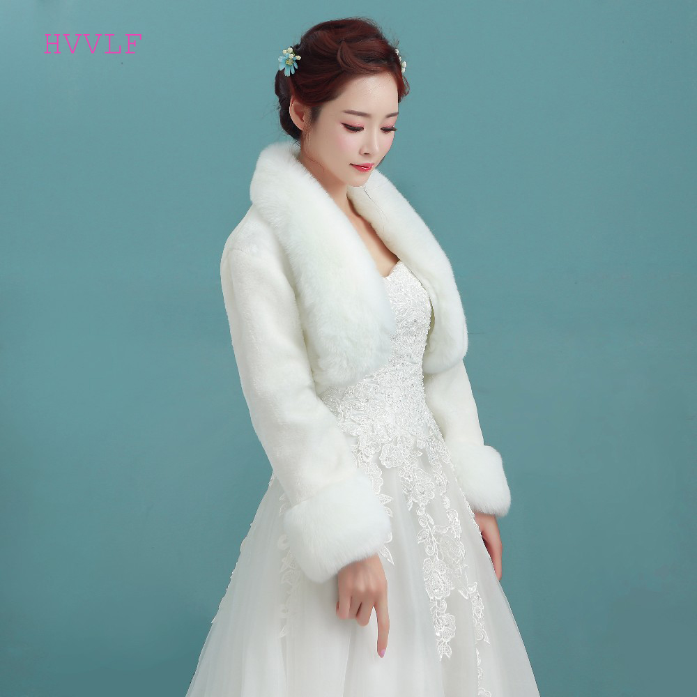 Wedding Accessories High Quality Faux Fur Bolero Long Sleeves Ivory Wedding Jackets Winter Warm Coats Bride