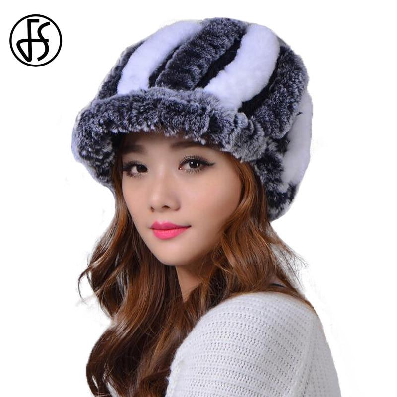 FS 100% Rex Kelinci Bulu Topi Wanita Musim Dingin Rusia Cap Tebal Hangat  Buatan Tangan e59197d0f0