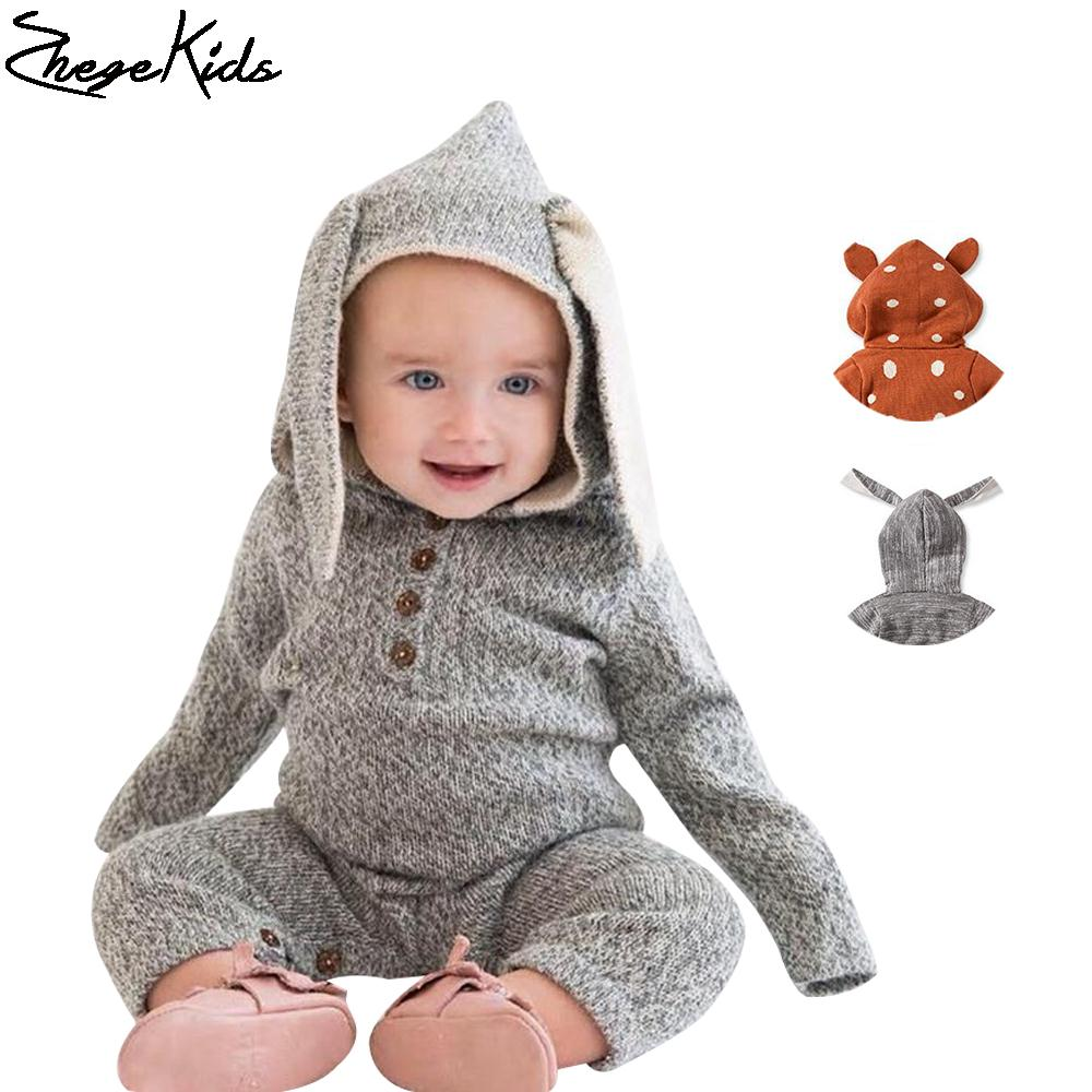 0-2Y New 2016 Spring Autumn Baby Boys Knitting Cartoon Deer & Rabbit Sweater Jumpsuit For Girls Baby Romper Children Clothing
