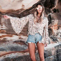 Boho Summr Beach Tops Vintage Floral Print Ruffles Blouses Women 2018 Fashion V Neck Lace Up Ladies Shirts Casual Blusas Mujer