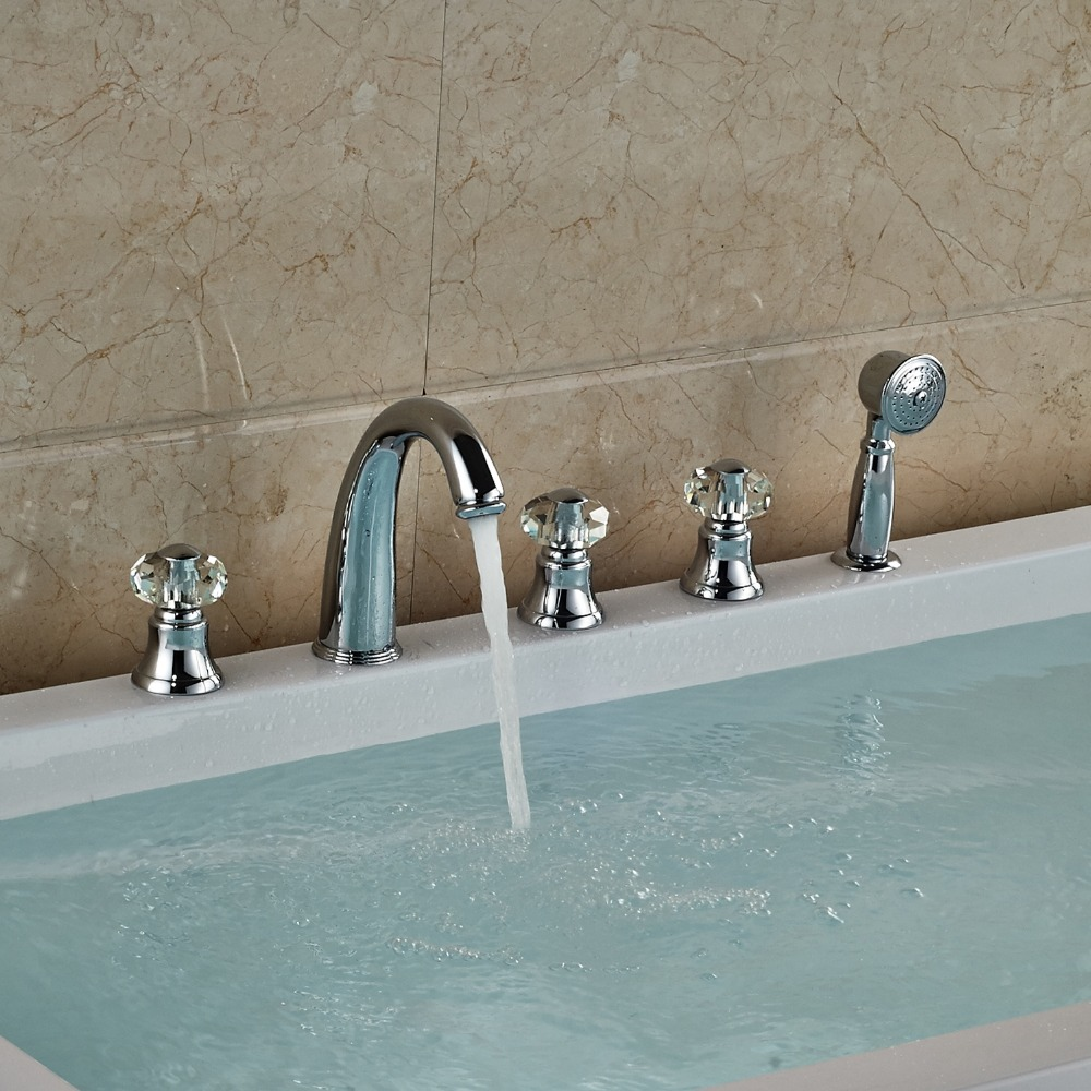 Chrome Finished Deck Mounted Bathtub Faucet With 3 Crystal Handles Mixer Tap