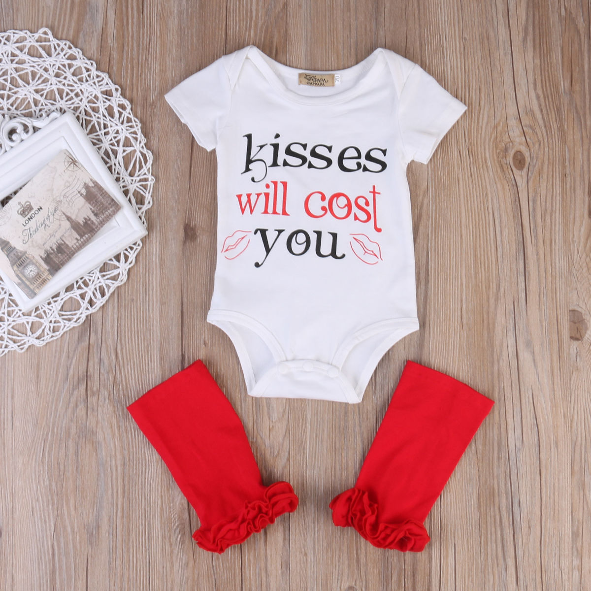 Newborn Toddler Kids Baby Boy Girl Outfits Summer Fashion White Short Sleeve Letter Romper+Red Leg Warmers 2pcs Sets Clothes