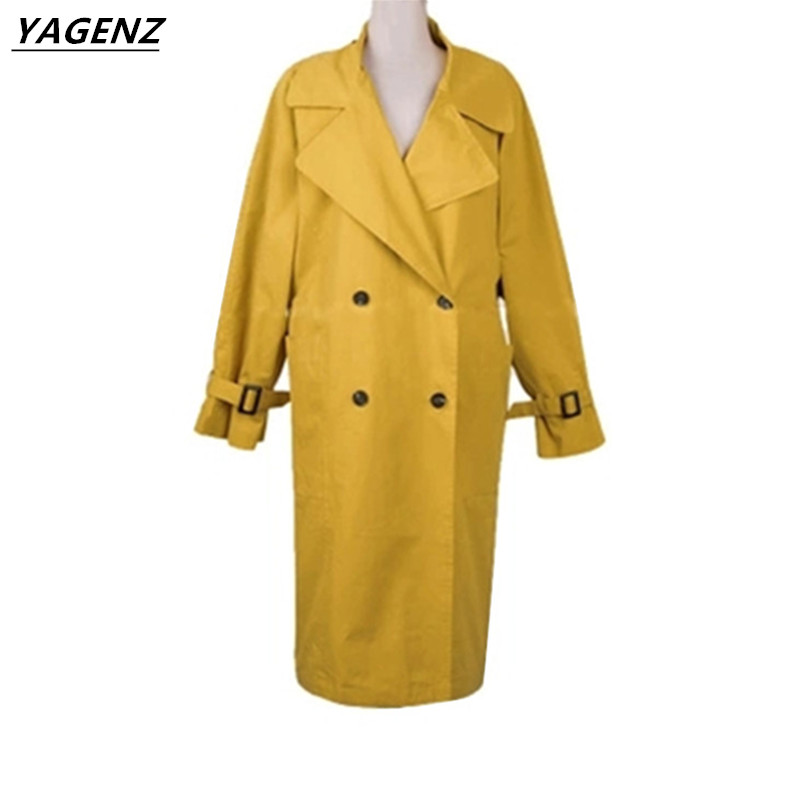 Windbreaker Female Knee Long Section Thin Coat 2017 Spring Autumn Korean Fashion Solid Color Elegant Slim   Trench   Coat YAGENZ A7