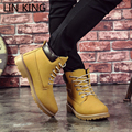LIN KING Fashion Men Boots Autumn Winter Male Suede Tooling Snow boot Leather Couples Martin zapatos mujer Big Size 35-44